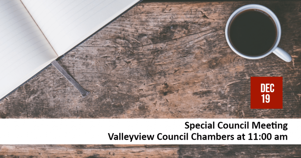Special Council Meeting Scheduled December 19, 2019